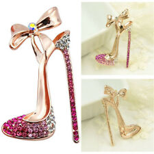 High-heeled Shoes Brooch Alloy Crystal Rhinestone Purple Flower Women Brooch Pin