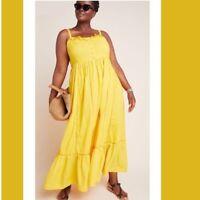 Anthropologie Maxi Dress New Size Large Mustard Yellow Halter Flowy Smocked