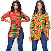 African Tribal Aztec Bohemia Women Longline T Shirt Dashiki Tunic Tops Side Slit