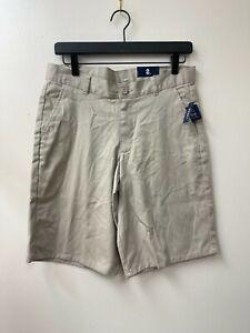 Izod Boy's Flat Front Shorts in Khaki Size 16 Husky School Uniform NWT