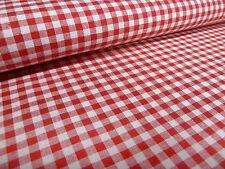 Stoff 100% Baumwolle Zefir 5 mm Karo rot weiß kariert Kleiderstoff Dekostoff