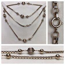 lungo maglia veneziana FMB 835 argento con 15 CATENA DI SFERE accessori in 80 cm