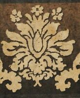 Wallpaper Border Dark Gold Damask on Brown to Black Background