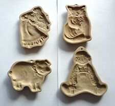 Four Vintage Brown Bag Cookie Art Mold Lot, Raggedy Andy, Cat, Angel, Pig, 1980s