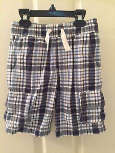 Hanna Andersson Boys Blue Plaid Cargo Shorts Elastic Waist Size 100 US 4 NWT