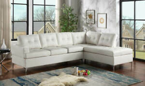 NEW Modern White Sectional with Metal Legs Faux Leather Contemporary Living Room