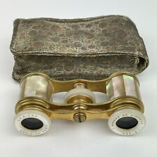 More details for fine antique pair of mother of pearl and brass opera glasses lemiere paris