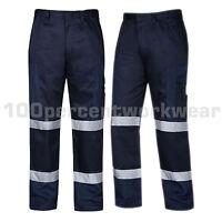 Aqua Navy Blue High Visibility Polycotton Ballistic Cargo Work Trousers Pants