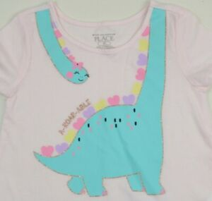 The Children's Place A-Roar-Able Pink Baby Girl Short Sleeve T-Shirt Size 3T New