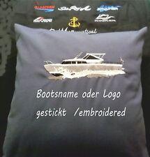 Kissenhülle Nautic Marine , Kajütboot Boat Yacht  40x 40 cm Bootsname gestickt