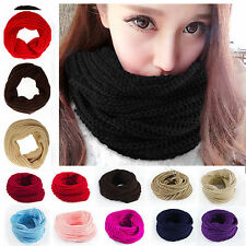 Women Winter Warm Infinity 1 Circle Cable Knit Cowl Xmas Neck Scarf Shawl Black