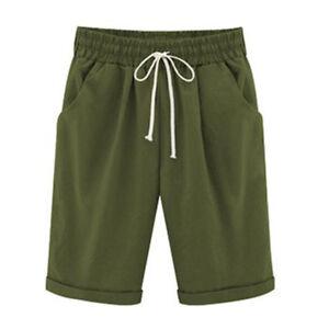 Women Cropped Casual Loose Bermuda Shorts Summer Beach Capri Knee Half Trousers
