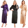 Ladies Long Satin Dressing Gown Lace Detail Womens Robe Wrap Size UK 10-24 NEW