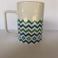 Disney Thailand Hidden Mickey Blue Green Chevron Mug