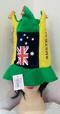 Australian Flag Green & Yellow Top Hat with bells Aussie Party Australian Day
