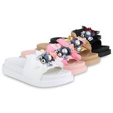Damen Sandaletten Pantoletten Plateau Sandalen Blumen Schlappen 830504 Schuhe