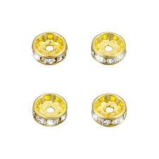 Swarovski Rondelle Spacers Gold Plate Crystal F 8mm Pack of 4 (M58/10)