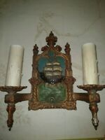 VTG Arts & Craft 2-Light Wall Sconce Spanish Galleon Ship Lowry Elec. Co. 1930's