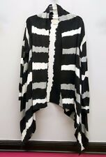MICHAEL KORS Size 2X Black Gray White Striped Tie Dye Wrap Cardigan Sweater