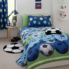 CATHERINE LANSFIELD FOOTBALL BLUE DOUBLE DUVET COVER SET KIDS BEDDING FREE P+P