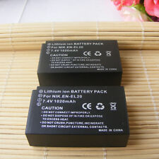 2pack Camera Battery for NIKON 1 S1 1 J1 1 J2 1 J3 Coolpix A EN-EL20 EN EL20