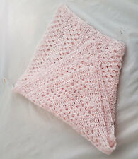 Knitwitz Hand Crochet Cotton Scarf/Shawl Pale Pink Cotton yarn
