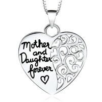 *UK Shop* Silver 'MOTHER AND DAUGHTER FOREVER' Engraved Love Heart Necklace Mum