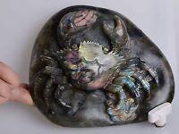 k24519 178mm  Labradorite gemstone carved crab statue figurine decor