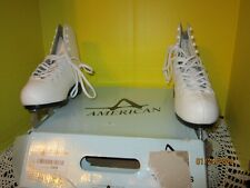 American Athletic Shoes #522 Women's Tricot Lined White Figure Skates Size 7