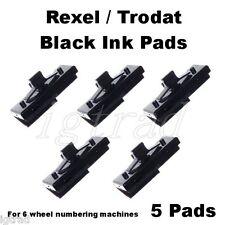 1 CONFEZIONE DI 5 Black Ink Pad per REXEL un12 un15 un32 6 RUOTE numerazione macchine