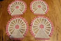 Lot 4 matching Set Beautiful Vintage doily crocheted pink  Ivory Doilies Round