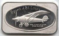Spirit of St Louis Airplane 999 Silver 1 oz Art Medal ingot Bar Flight - MB596