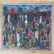 Richard Kimbo Batik Kenya 2001 african wax painting on fabric huts villagers