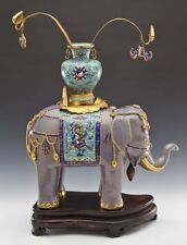 Massive and Rare Qing Dynasty Chinese Cloisonné Gilt Enamel Elephant Floor Vase