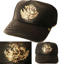 Mexico Trucker Snapback Hat Black Snake Skin Artificial Leather Gold badge Cap