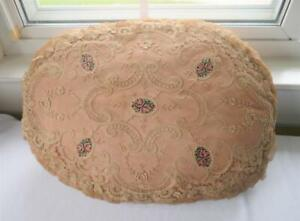 ANTIQUE FLORAL EMBROIDERY LACE NET & PETIT POINT EMBROIDERY OVAL BOUDOIR PILLOW