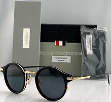 Thom Browne Round Sunglasses Black Gold Metal TB-807-A-T-BLK-GLD Small 45 NEW