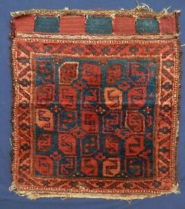 """Antique Pre-1900 Outstanding """"BELOUCH-in-name-only"""" Bag Face. A+++ Wool & Design"""