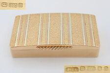 RARE VINTAGE HM 9ct 3 COLOUR GOLD SNUFF or PILL BOX 67.0g