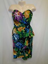 Vtg 80s Nwt Bb Collections 10 Faux Wrap Dress Hawaiian Strapless Swag Nos Floral