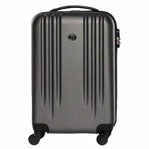 Handgepäck Hartschalen Koffer Trolley Kabinen Bordgepäck 55cm 4 Rollen grau