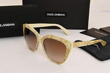 Dolce & Gabbana Sunglasses DG4250 2747/13 Cat Eye Gold Leaf Ivory Brown Gradient