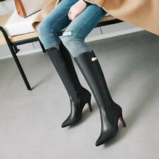 Womens Pointed Toe Knee Boots Sexy High Heel Patent Leather Bootie Shoe Clubwear