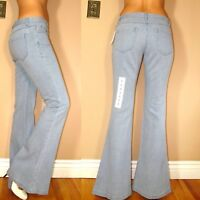 New $245 Theory Flare Light Blue Women's Jeans 100% Cotton Mid Rise 2 6 X-Long