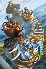 Signed Steampunk Alice in Wonderland Mad hatter Tea Party Medium 13x17 Art Print