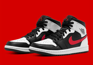 Nike Air Jordan 1 Mid Shoes Black White Chile Red 554724-075 Men's or GS NEW