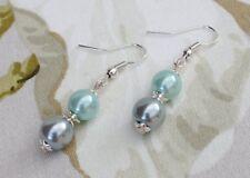 Vintage Look Handmade Faux Glass Pearls Grey Aqua Pierced Ladies Dangle Earrings