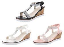 Elegante Damen-Sandalen & -Badeschuhe mit Keilabsatz/Wedge aus Kunstleder für Hoher Absatz (5-8 cm)