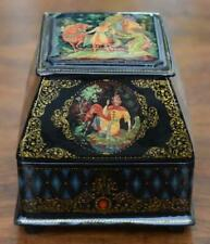Lovely Chest Shaped Russian Lacquer Box #2 With Multiple Panels Fairy Tale Motif