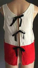 Unique COOPERATIVE White & Red Tank Top with Back Ties  Size M/12